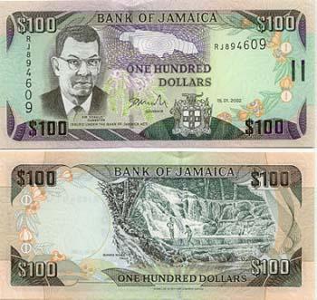 Jamaican 100 dollar bill