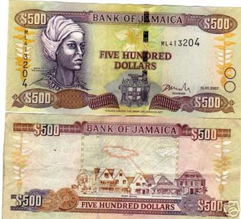 Jamaican 500 dollar bill