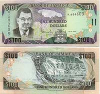 Jamaican 100 dollar bill